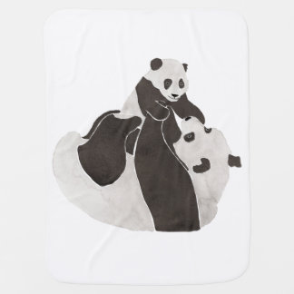 Mother and baby panda playing baby blanket