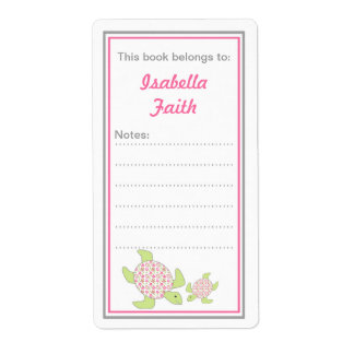Mother and Baby Sea Turtles bookplates baby shower