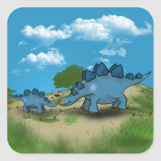 Mother and Baby Stegosaurus Show Some Love Square Sticker