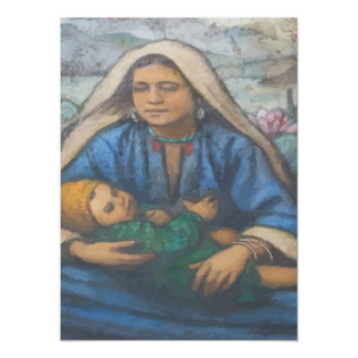 Mother and Child 14 Cm X 19 Cm Invitation Card