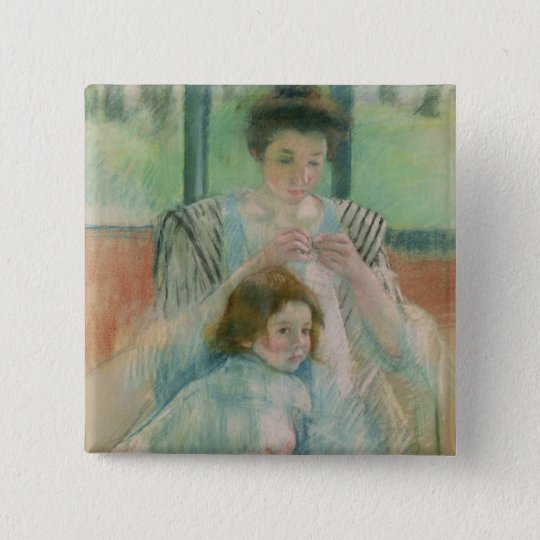 Mother and child 15 cm square badge