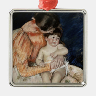 Mother and Child, 1890s Silver-Colored Square Decoration