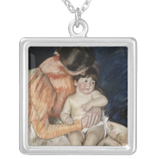 Mother and Child, 1890s Silver Plated Necklace