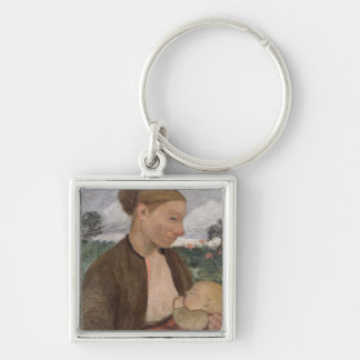 Mother and Child, 1903 Silver-Colored Square Key Ring