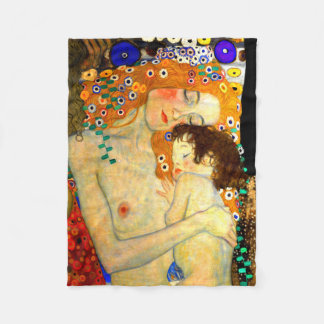 Mother and Child by Gustav Klimt Art Nouveau Fleece Blanket