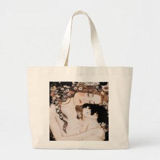 Mother and Child by Gustav Klimt Large Tote Bag