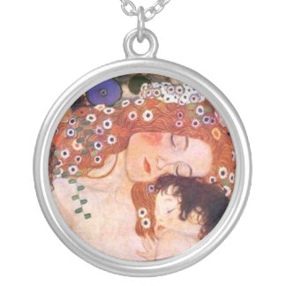Mother and child by Klimt Silver Plated Necklace
