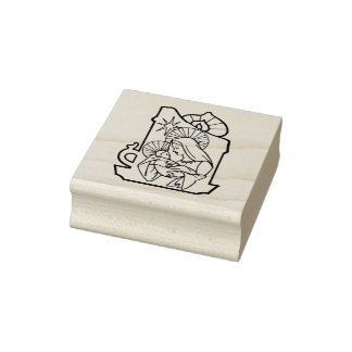Mother And Child Christmas Rubber Stamp