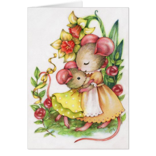 Mother and Child Cute Mice Mouse Greeting Card
