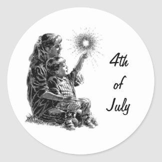 Mother and Child Fourth of July Classic Round Sticker