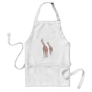 Mother and child giraffes drawing custom aprons