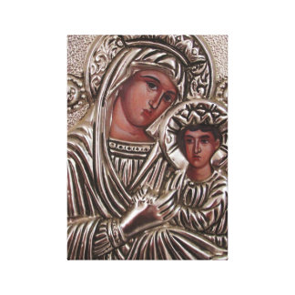 Mother and Child Icon, Madonna and Jesus in silver Stretched Canvas Prints