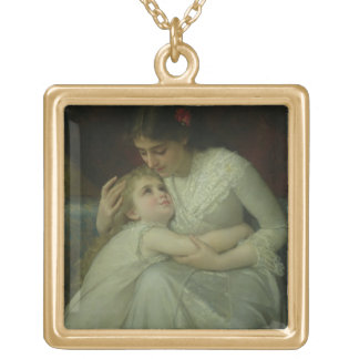 Mother and Child (oil on canvas) Gold Plated Necklace