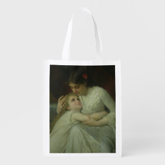 Mother and Child (oil on canvas) Grocery Bags
