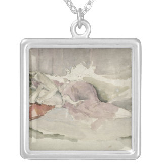 Mother and Child on a Couch Silver Plated Necklace