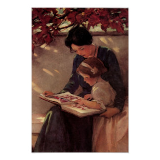 Mother and Child Reading Poster