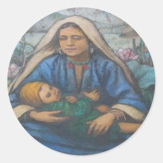 Mother and Child Round Sticker