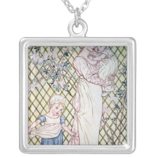 Mother and Child Silver Plated Necklace