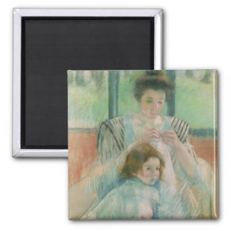 Mother and child square magnet