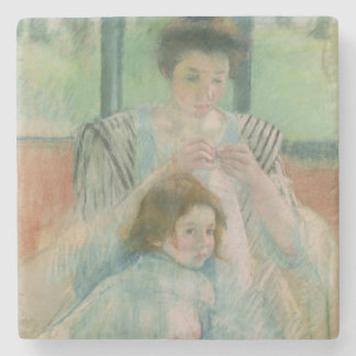 Mother and child stone beverage coaster