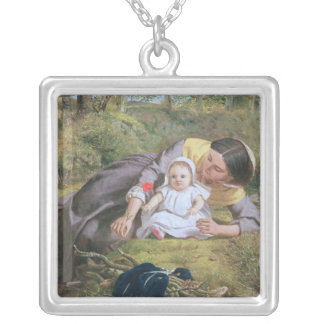 Mother and Child with a poppy Silver Plated Necklace