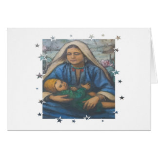 Mother and Child with Star Border Greeting Card