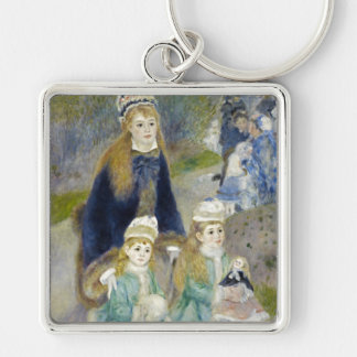 Mother and Children, La Promenade, Renoir Silver-Colored Square Key Ring