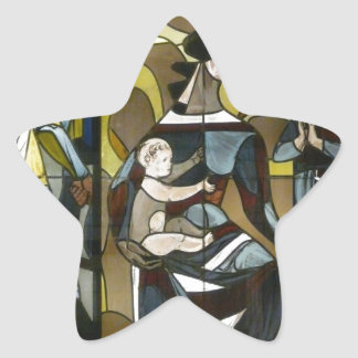 MOTHER AND CHILDREN STAINED GLASS STAR STICKERS