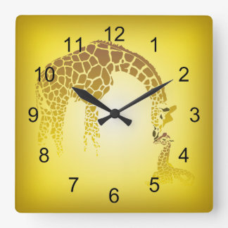 Mother and Cute Baby Giraffe | yellow Square Wall Clock