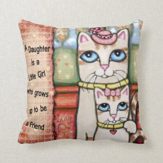 Mother and Daughter Cats Love Throw Pillow Throw Cushion