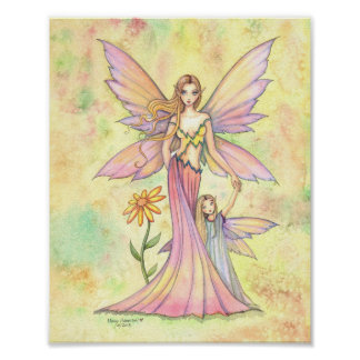 Mother and Daughter Fairy Watercolor Art Painting Poster