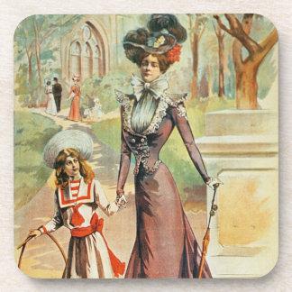 Mother and daughter on a walk (colour litho) coaster