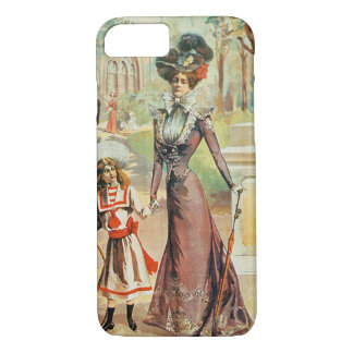 Mother and daughter on a walk (colour litho) iPhone 8/7 case