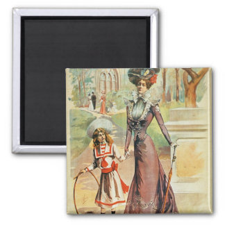 Mother and daughter on a walk (colour litho) fridge magnet