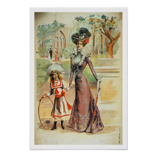 Mother and daughter on a walk (colour litho) print