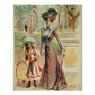 Mother and daughter on a walk (colour litho) poster
