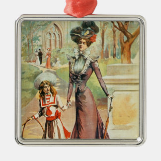 Mother and daughter on a walk (colour litho) Silver-Colored square decoration
