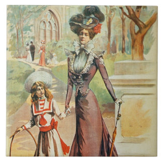 Mother and daughter on a walk (colour litho) tile