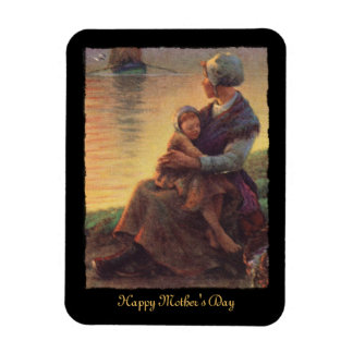 Mother and Daughter on Shore Rectangular Photo Magnet