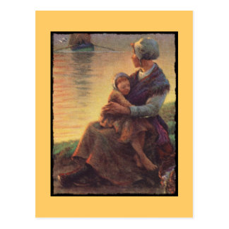 Mother and Daughter on Shore Postcard