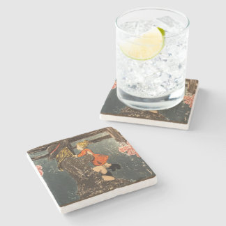 Mother and Daughter on the Farm Stone Coaster