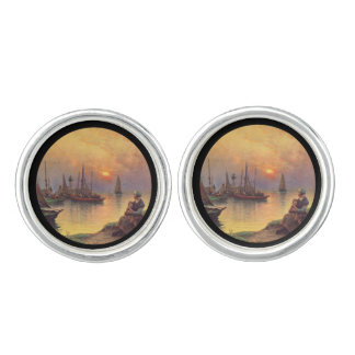 Mother and Daughter on the Shore Cufflinks