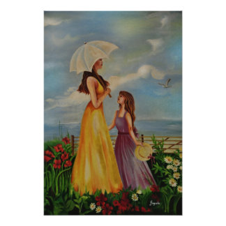 Mother and daughter outside in a beautiful day print