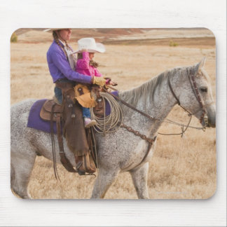 Mother and daughter riding horse mouse mat