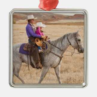 Mother and daughter riding horse Silver-Colored square decoration