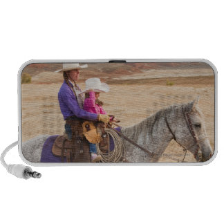 Mother and daughter riding horse travel speakers