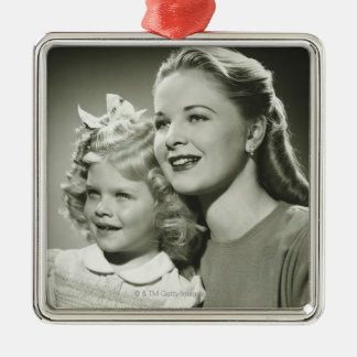 Mother and Daughter Silver-Colored Square Decoration