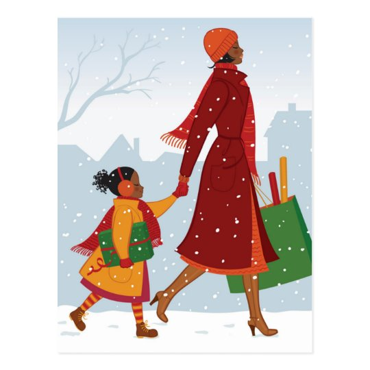 Mother and daughter with gift and shopping bag