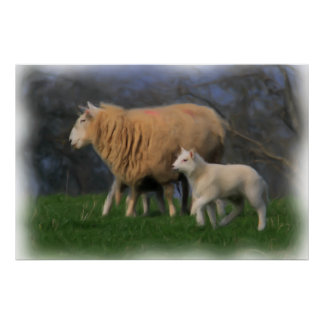 Mother and Lamb Print