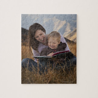 Mother and son reading outdoors jigsaw puzzle
